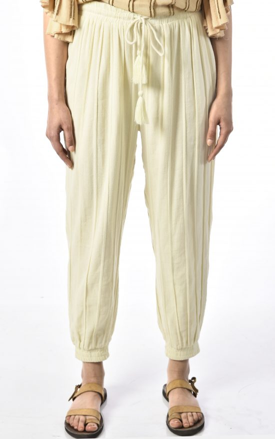 Ollari white cotton joggers with tassels