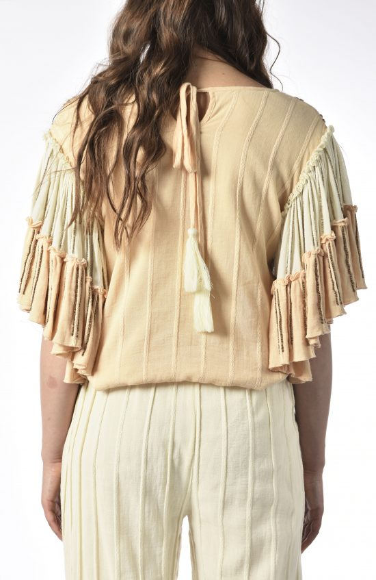 Ollari blush and white beaded blouse resort spring
