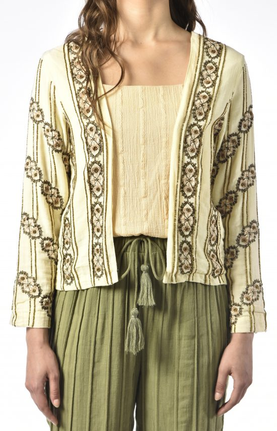 Ollari cotton beaded jacket white embroidery for spring