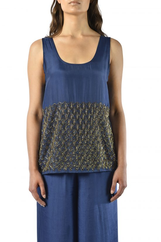 Ollari blue silk beaded tank blouse