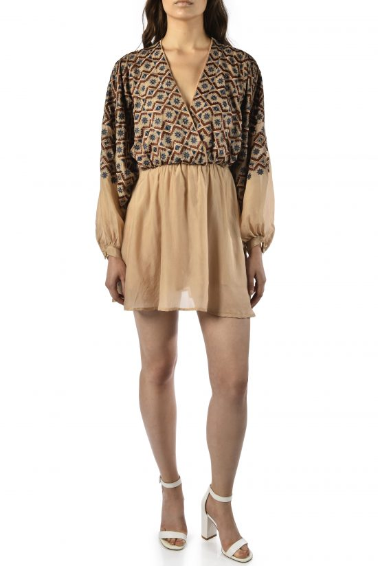 Ollari embroidered nude silk dress party dress