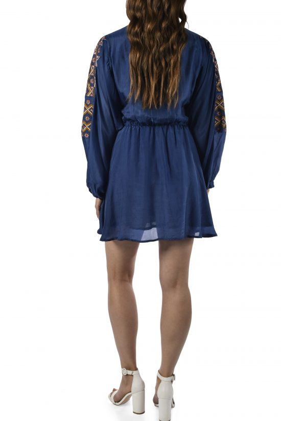 Ollari embroidered blue silk dress party dress