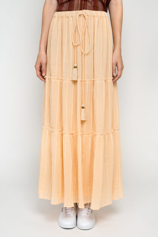 Ollari blush cotton maxi skirt with tassels resort ss19