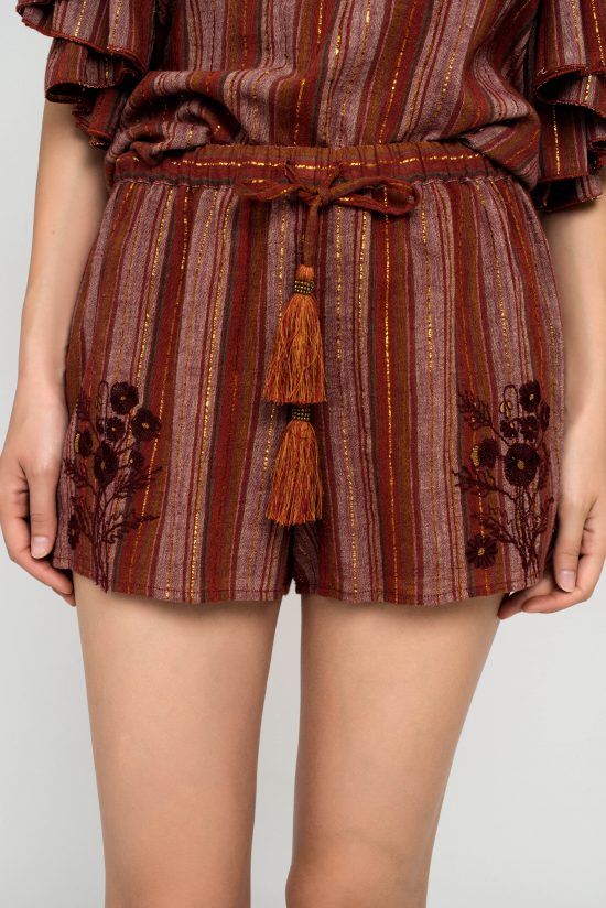 Ollari Stripe cotton short with embroidery
