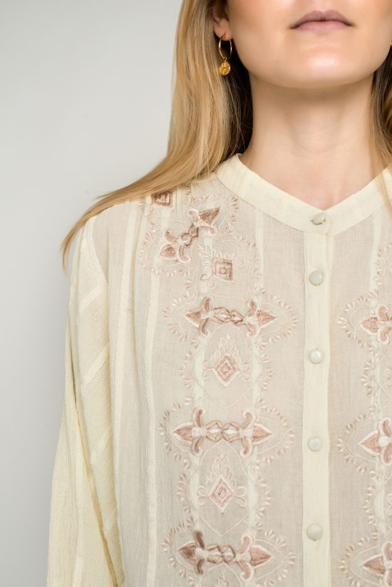 Ollari white embroidered blouse with embroidery resort spring