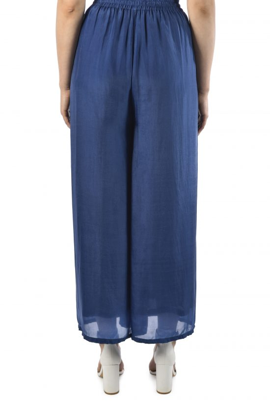 Ollari silk blue wide leg pants summer pants